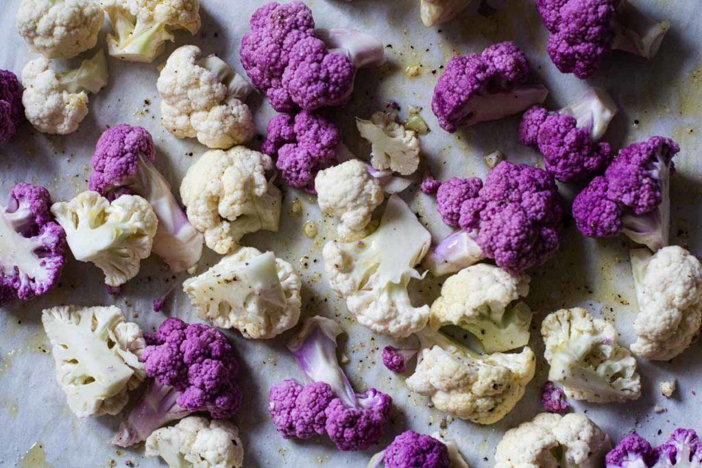 roasting white and purple cauliflower