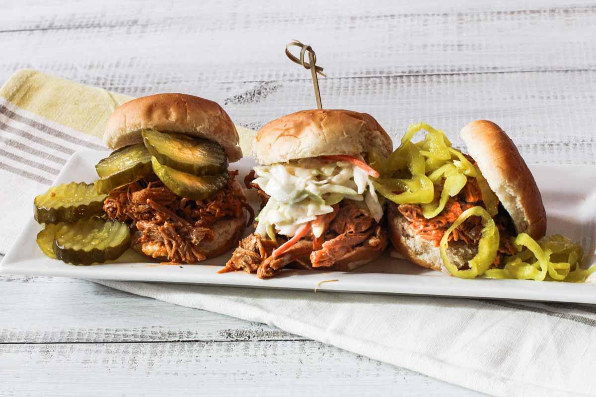 three different pulled pork sandwich ideas.