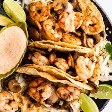 simple shrimp and mushroom tacos