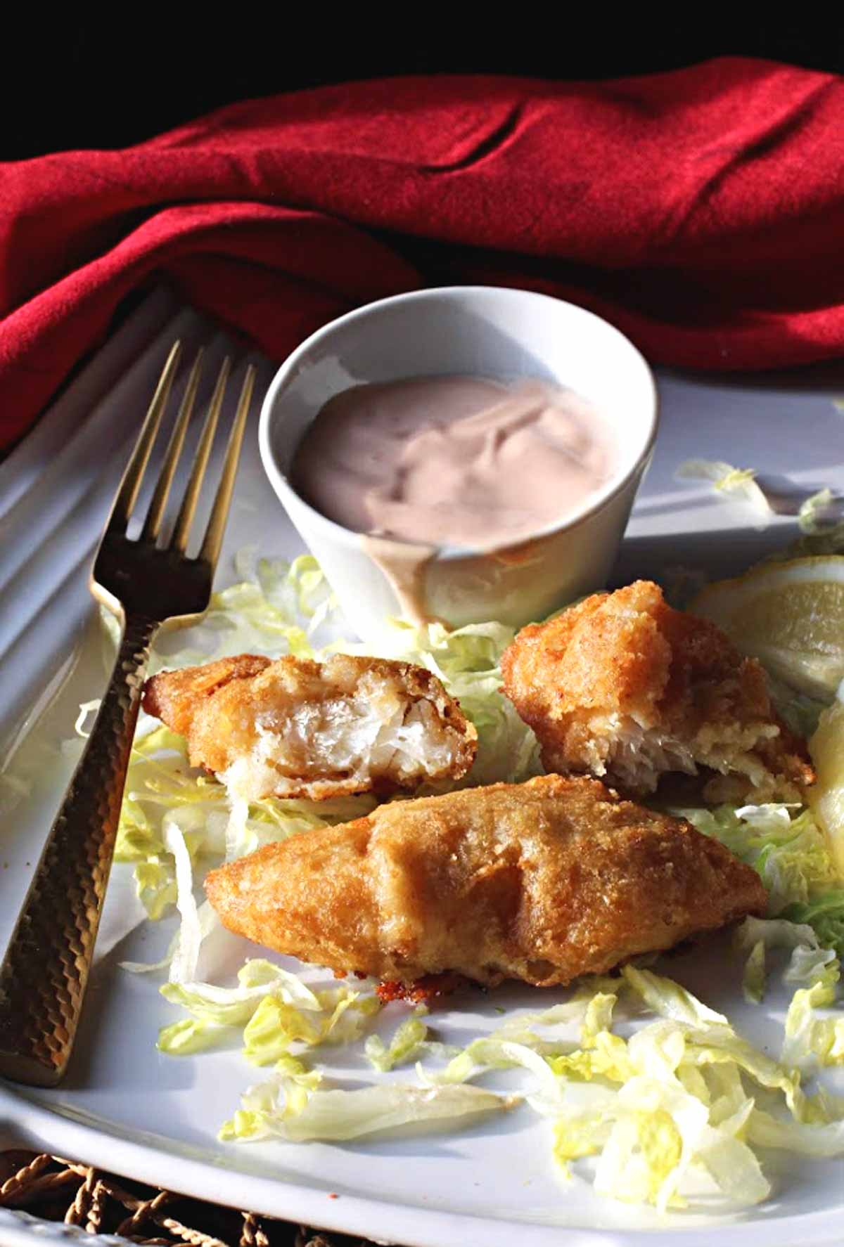 battered and fried cod served with Marie Rose Sauce