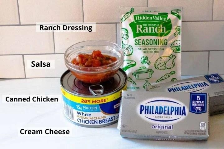 Ingredients to make chicken ranch dip