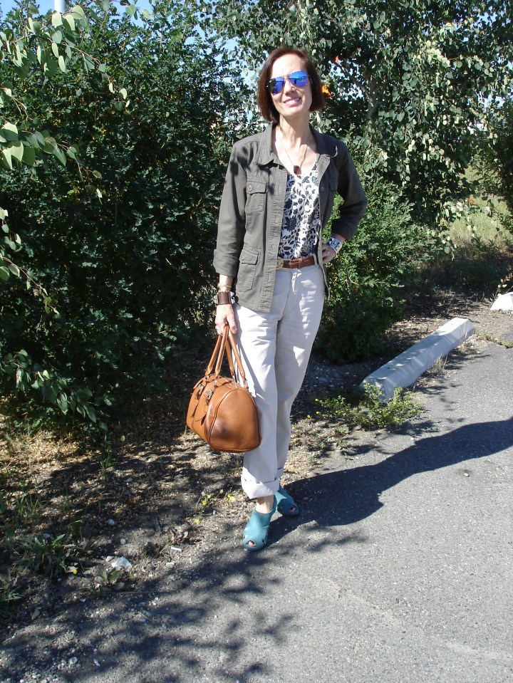 over 50 years old woman in casual outfit with field frock