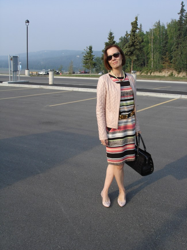 fashion over 40 Office look with quilted leather jacket