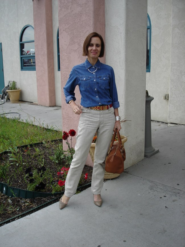 stylist in denim shirt with linen pants