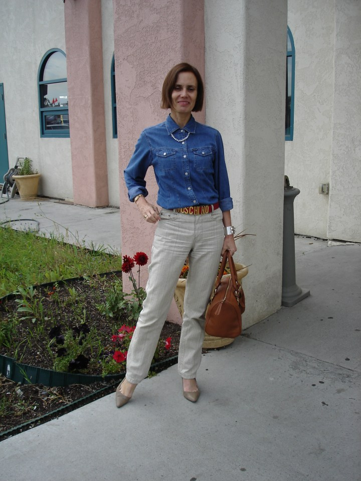 midlife blogger wearing a tailored denim shirt with linen pants for Casual Friday