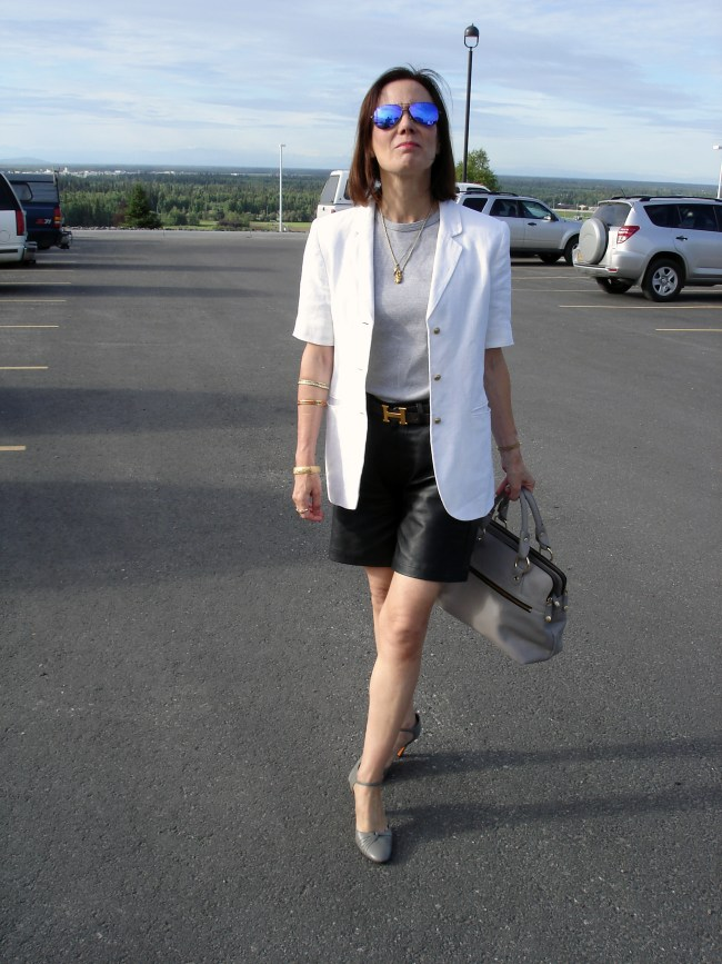 Nicole of High Latitude Style in a fake summer suit with leather shorts style as a desaturated posh Casual Friday look