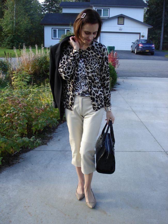 capris with floral top leopard print cardigan, blazer