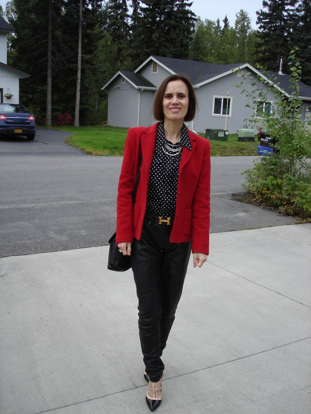 #over50fashion Mature woman in red blazer, polka dot blouse and accessories