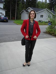 over 50 years old fashion blogger in blazer, shirt, heels, and leather pants for work