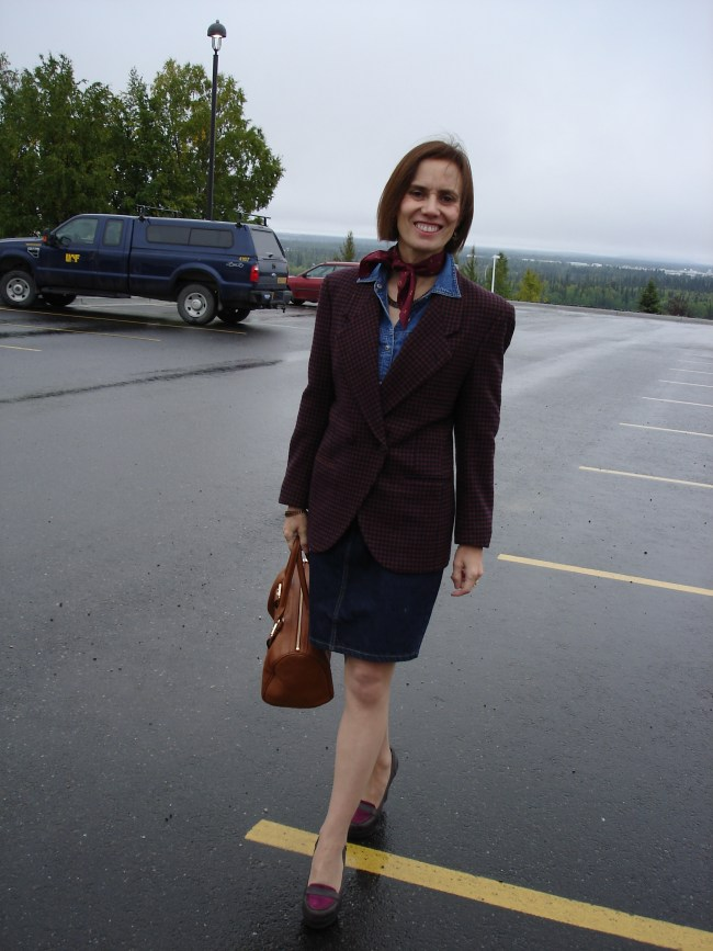 #styleover40 Mature woman in Burberry blazer with denim on denim