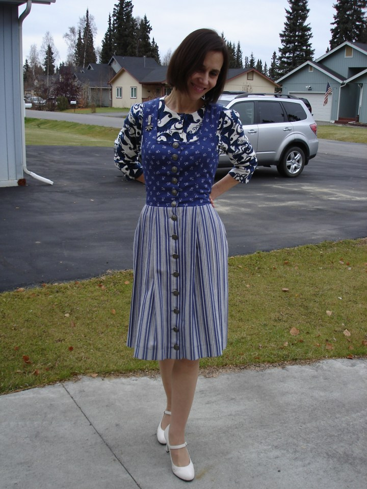 midlife style book author mixing floral, stripes and paisley in one outfit
