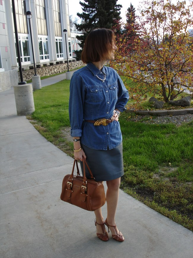 #fashionover40 Wearing a dress with a shirt for a separates  look