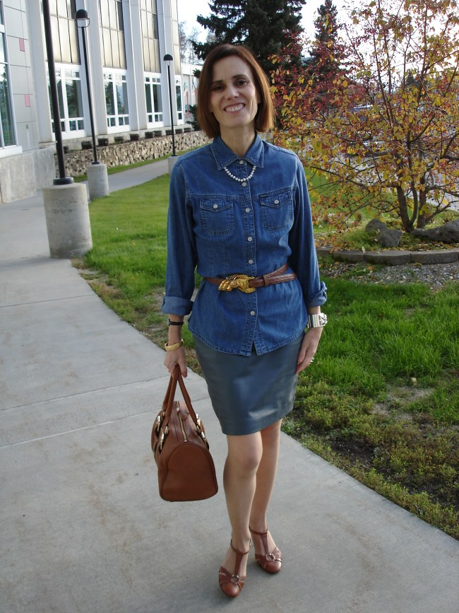 #over40fashion Wearing a dress as skirt for the office