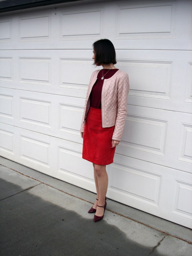 fashion over 40 Various shades of red in a work outfit