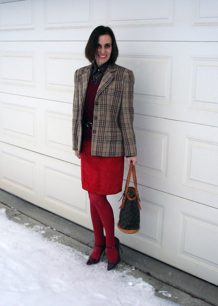 #styleover50 mature woman in work outfit styled in holiday vibe