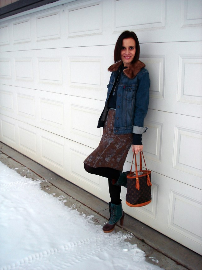 denim jacket with tweed skirt and duck booties with 4 inch heels and plateau sole