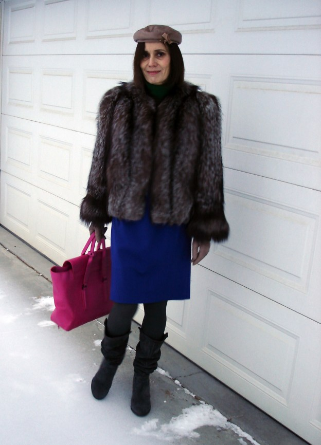 style blogger in classic winter outerwear