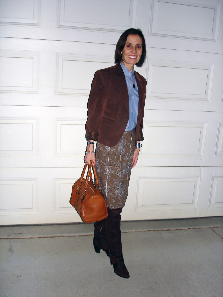 #styleover40 woman in a tweed skirt with button-down shirt and suede blazer for a winter office look