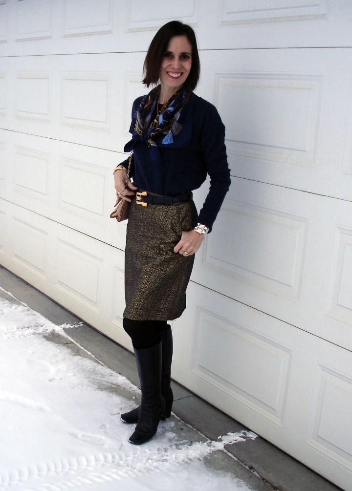 midlife fashion blogger wearing a brocade skirt