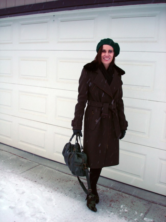 mature winter look with motorcycle coat and green beret