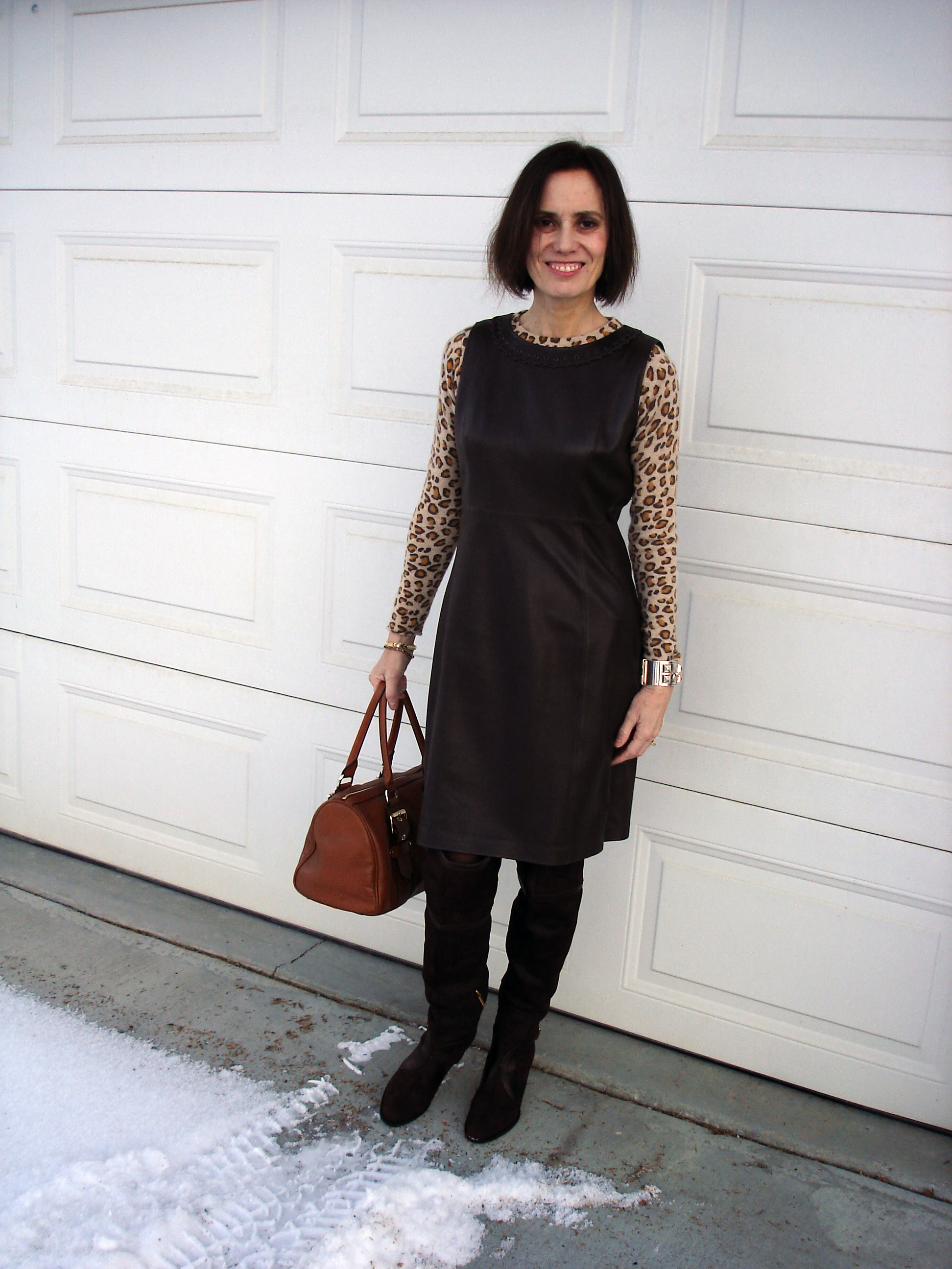 49fce0101e Cashmere leopard sweater, Eli Tahari sheath dress, Kate Moss for Longchamp  bag, GNW tights, and Dior over-the-knee boots (all own)