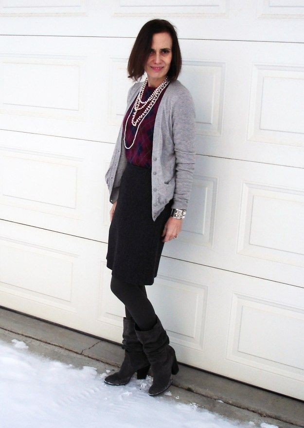 Mature woman in posh chic work outfit