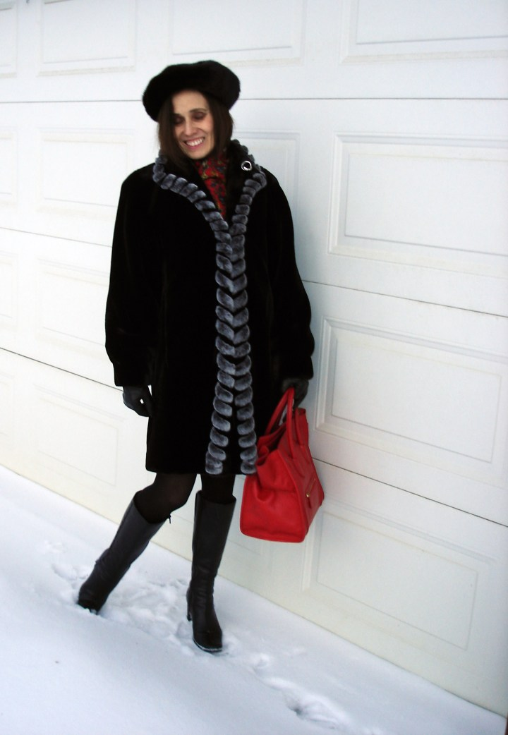 #fashionover50 midlife woman donning a styled winter outerwear look