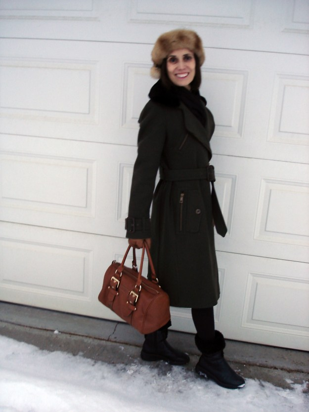 mildlife woman in posh chic street style winter outerwear