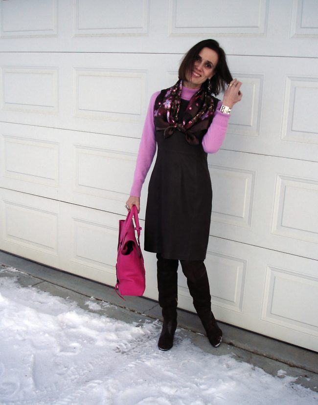 over 50 years old fashion blogger in leather dress with otk-boots