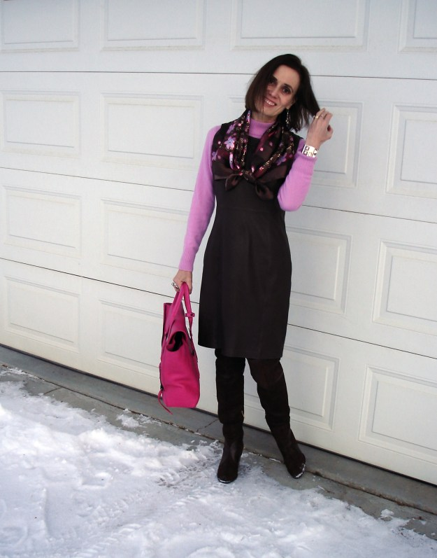 #styleover50 mature woman in winter office look with scarf, leather sheath, otk-boots and sweater