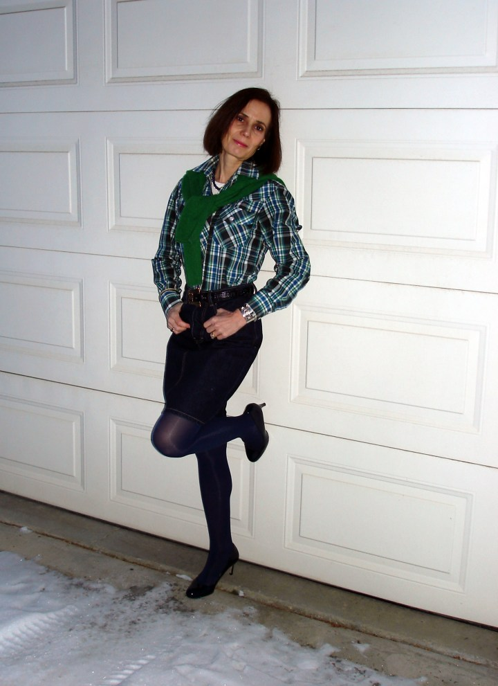#fashionover50 plaid shirt with denim skirt tights and sweater