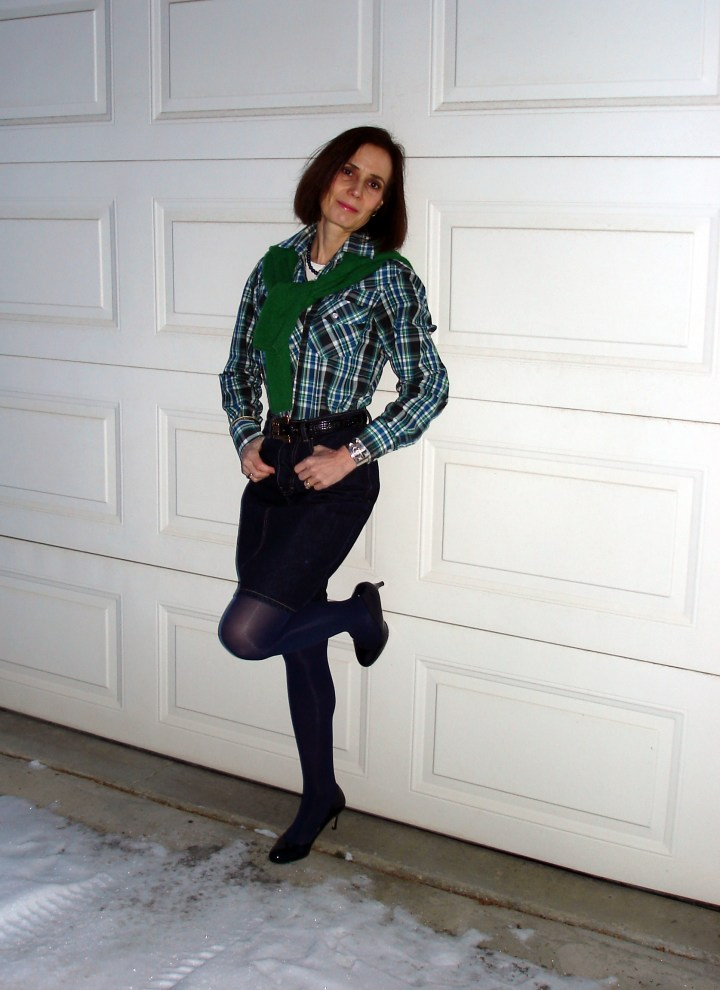 #fashionover50 woman in green plaid shirt for St. Patrick's day