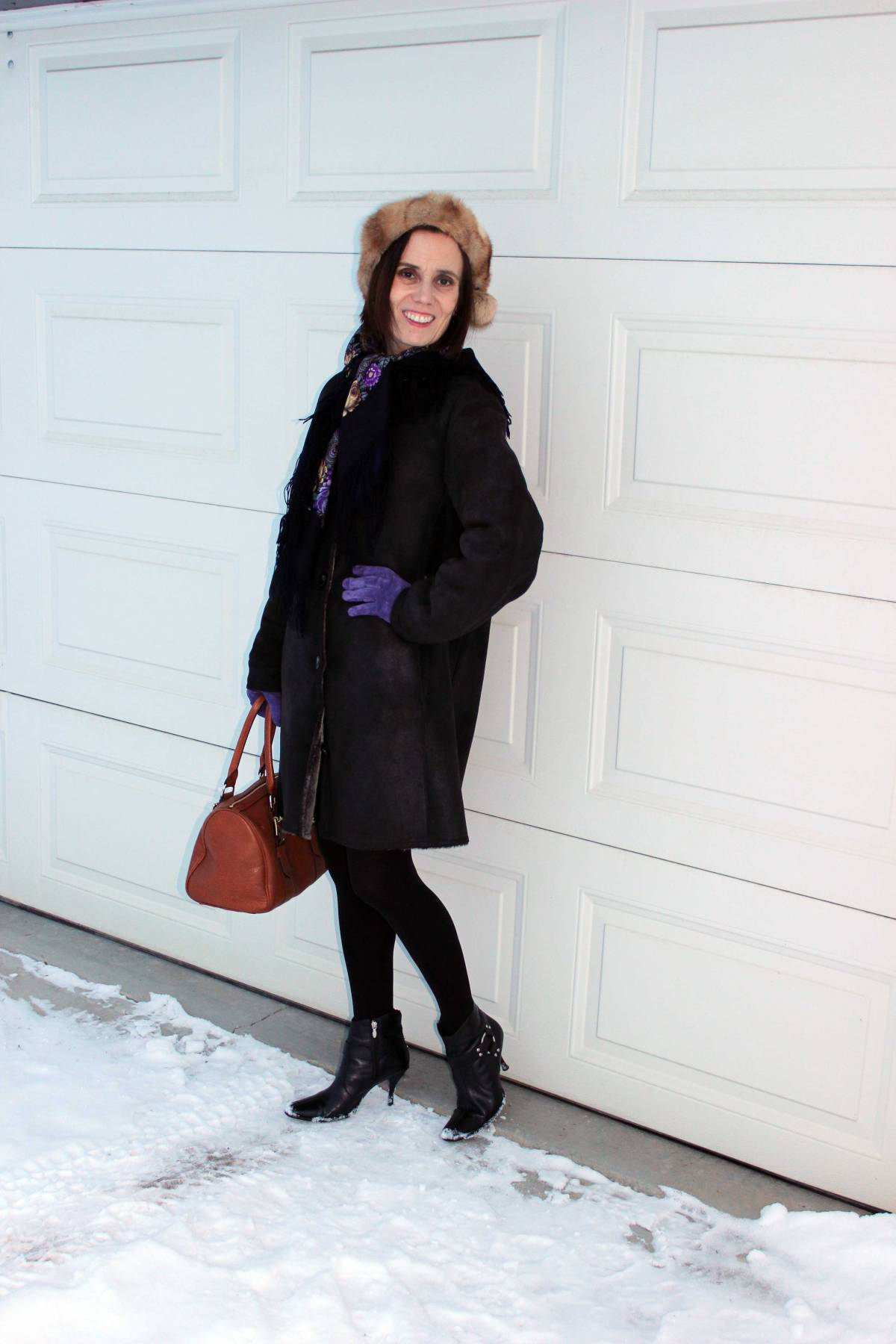 #fashionover50 woman in winter outerwear
