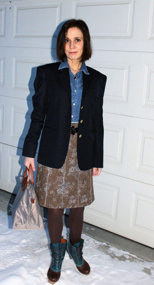 trendsetter in floral tweet skirt denim shirt navy blazer tights and ducks