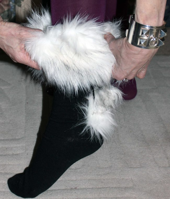 pulling on socks with faux fur