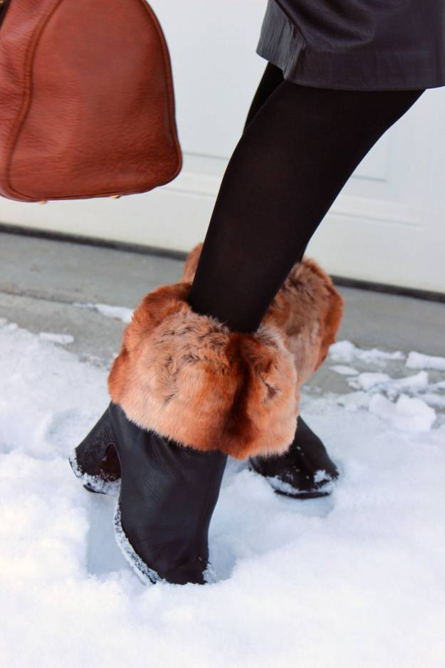 details of the faux fur socks