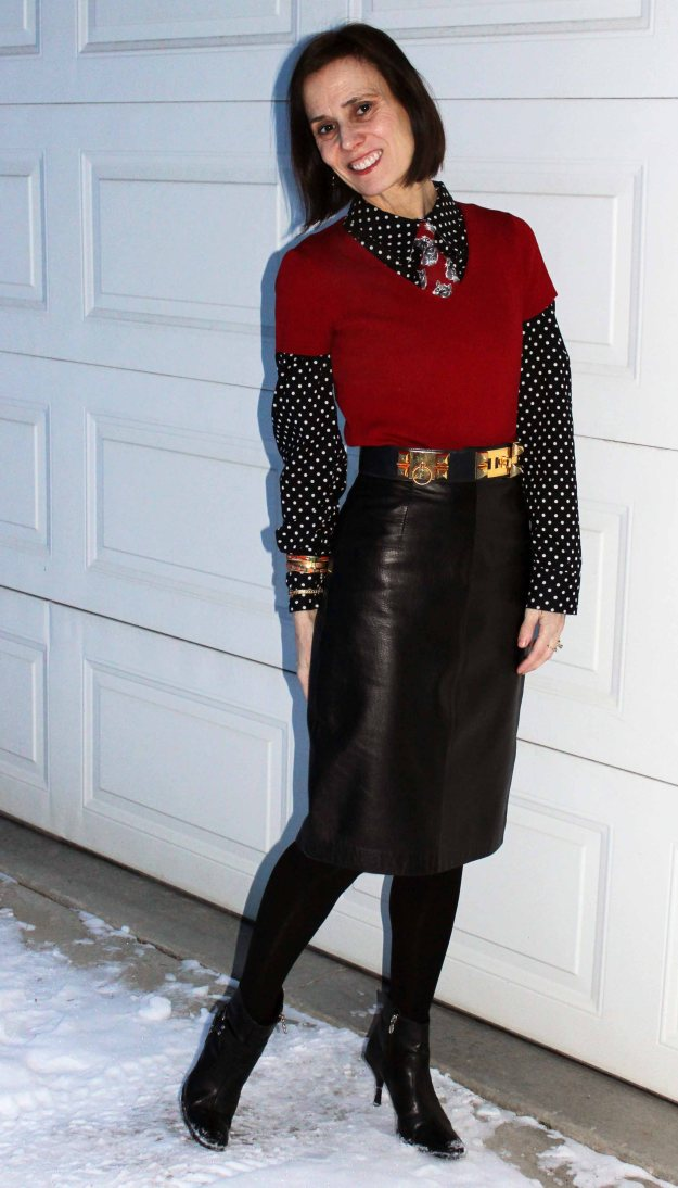 #styleover50 midlife woman in a menswear inspired office look with leather skirt and Windsor knot