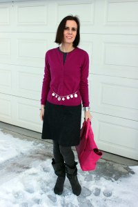 Funday Monday gray-fuchsia winter work outfit