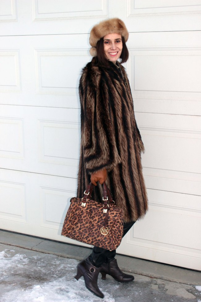 fashion influencer in stylish winter outerwear