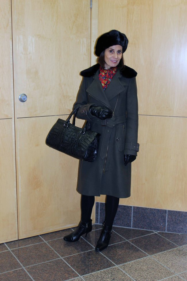 #fashionover50 women wearing a Burberry motorcycle coat