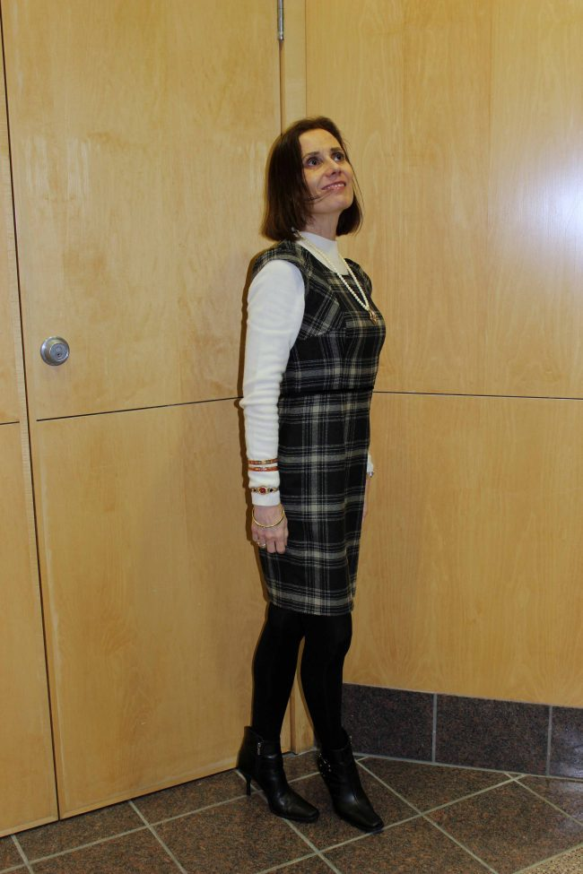 plaid sheath jumper office outfit
