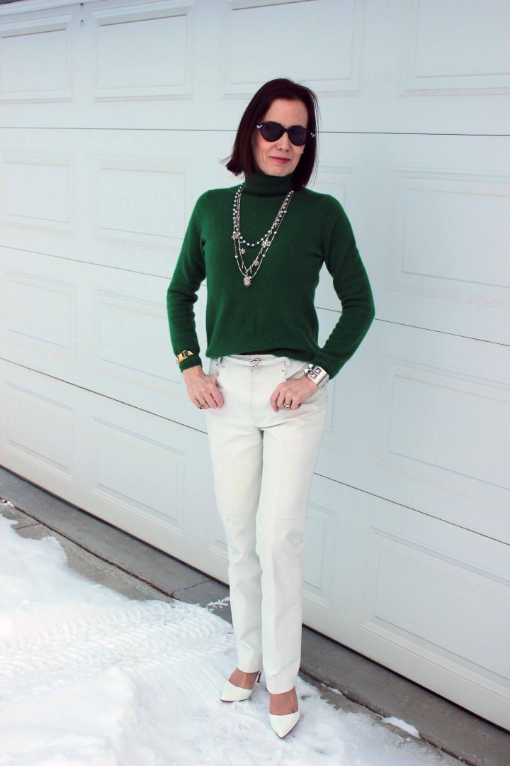#fashionover40 Irish green sweater with white leather pants for the office on St. Patrick's Day