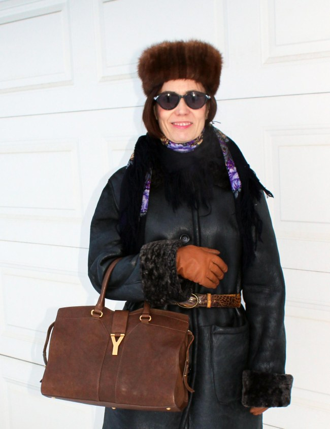 #styleover50 Winter outerwear for mature women with Russian scarf