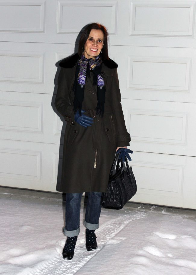business casual outerwear of loden coat with Russian scarf