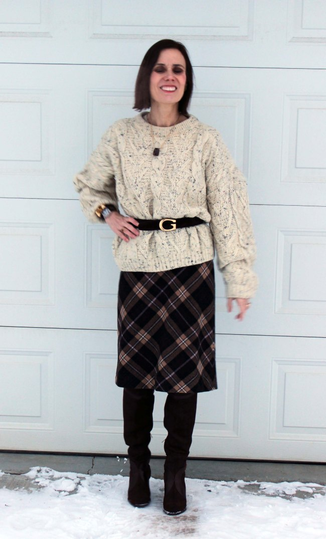 midlife women in winter look with oversize cable-knit sweate