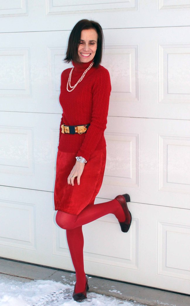 #fashionover50 midlife women in hot red outfit