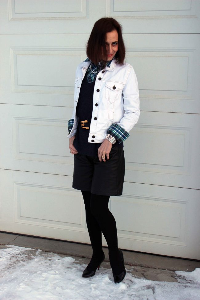 denim jacket, tights, short trousers, plaid shirt outfit