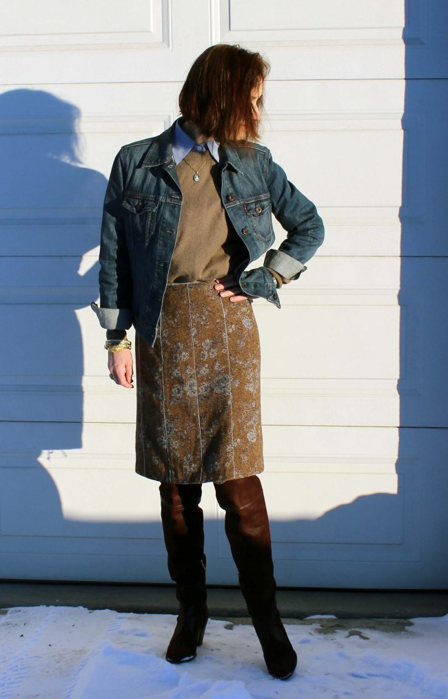 #styleover40 mature woman with over-the-knee boots styled for the office