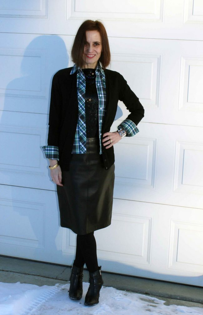 stylist in sequins under plaid, cardigan with tights and leather pencil skirt