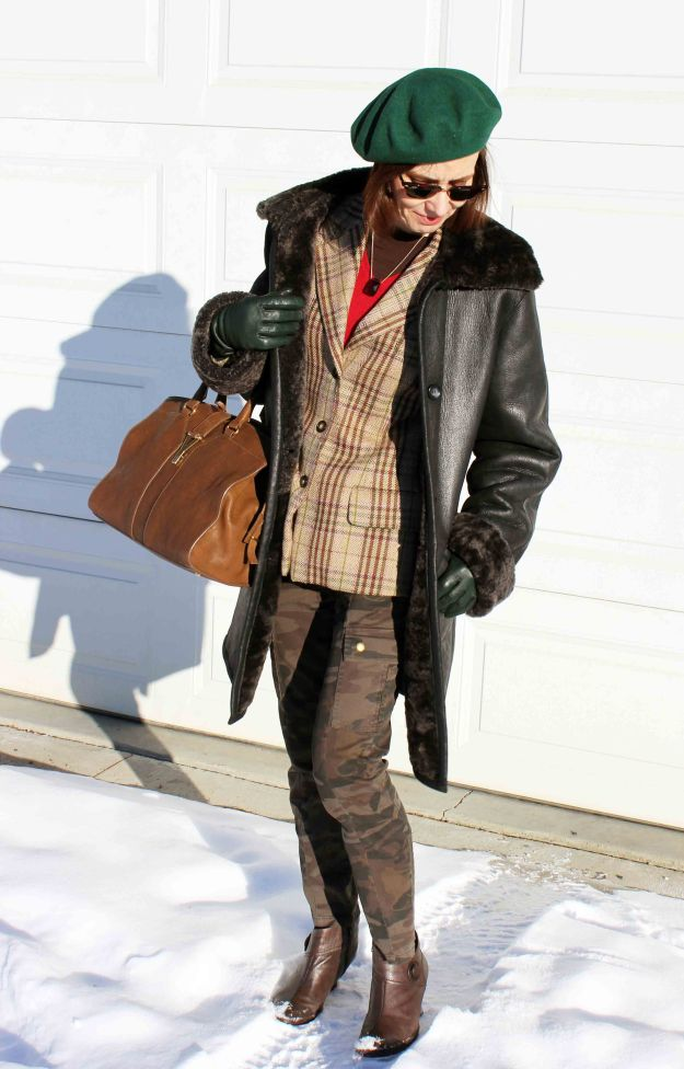 #fashionover50 Winter layering outfit with green beret for mature woman and camouflage pants